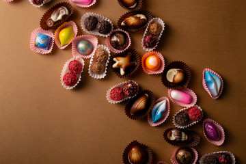 Chocolate bonbons from above