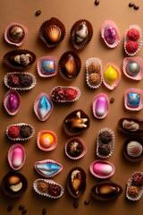 Luxury chocolate bonbons background