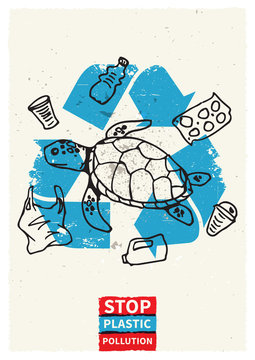 Stop ocean plastic pollution vector illustration with turtle and plastic garbage. Marine wildlife graphic design. Plastic polluted ocean problem creative concept. Eco problem banner with recycle sign.