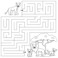 Coloring page for kids. Maze game. Help the lioness find right way to her family. Vector illustration characters.