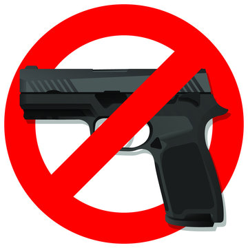 Red prohibition no gun round sign. isolated on white background. regulatory warning stop symbol. Vector illustration.