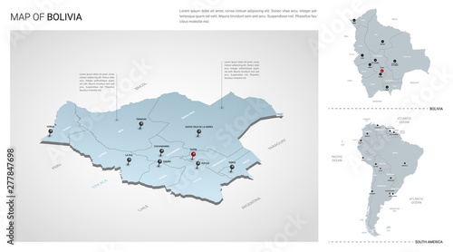 Vector set of Bolivia country. Isometric 3d map, Bolivia map ...