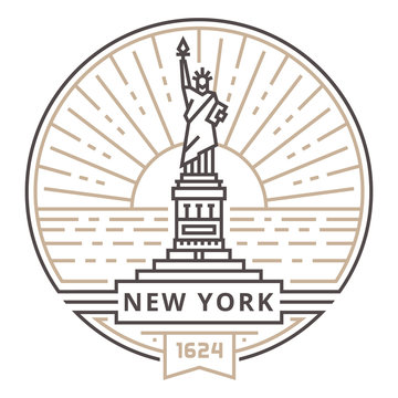 Linear Statue of freedom in New York against the background of the sun in the form of an emblem