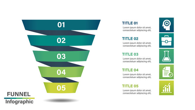 Funnel infographic design template with 5 steps