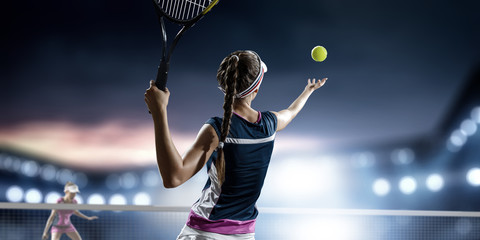Fototapeta Young woman playing tennis in action. Mixed media obraz