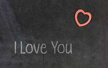 Blackboard with small red heart - I Love you