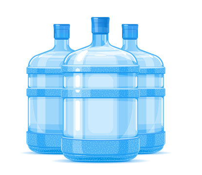 Group of tree five gallon big plastic water bottle containers quality illustration standing on white background, water delivery service of fresh purified water