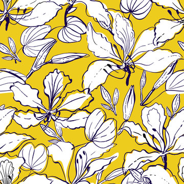 Seamless vector hand drawn floral pattern hawaii style with orchid tree flowers - bauhinia, buds and leaves, partially colored.