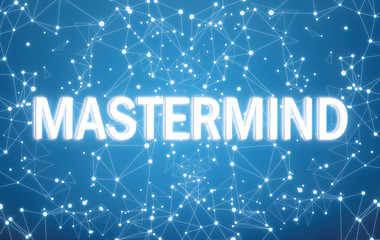 Mastermind on digital interface and blue network background
