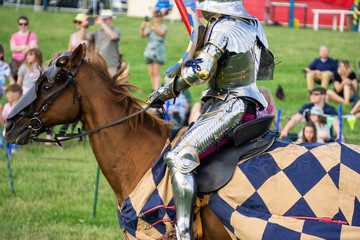 A medieval knight sitting on a horse wearing shining armour