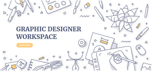Obraz Creative designer desk with stationary objects pencils, markers and design symbols. Top view on graphic designer workspace. Flat lay. Doodle illustration for web banners or hero images - fototapety do salonu