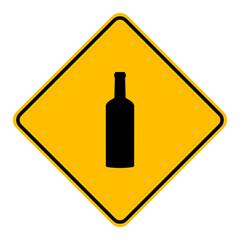 Flasche und Schild