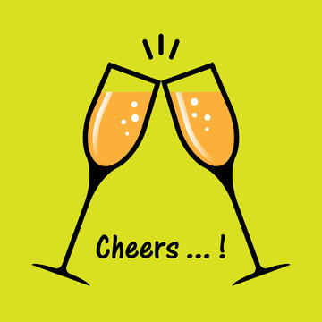 two glasses of champagne cheers flat design yellow bg