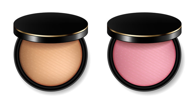 Face powder and blush cosmetics Vector realistic. Product placement mock up. 3d illustrations