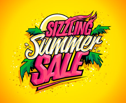 Sizzling summer sale vector banner, hot tropical design concept