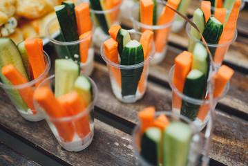 carrot cucumber appetizer in a glass