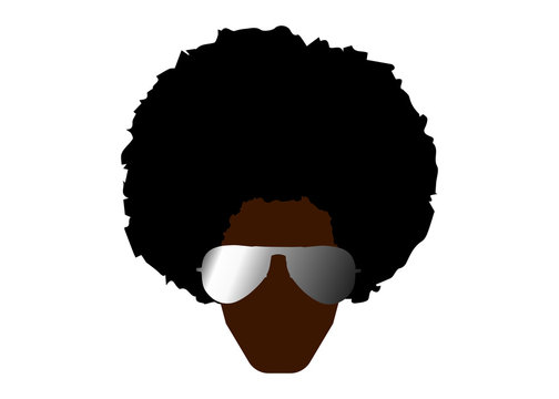 Funky cool african man with afro hairstyle and sunglasses vector illustration isolated or white background