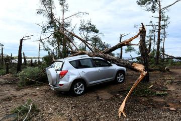 A car damaged by broken tree trunks is seen following heavy storms in Sozopoli