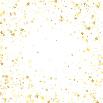 Flying gold star sparkle vector with white background.