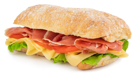 Spoed Fotobehang Snack Ciabatta sandwich with lettuce, tomatoes prosciutto and cheese isolated on white background