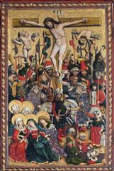 Deurstickers Imagination Crucifixion, Maria am Berg church in Hallstatt, Austria