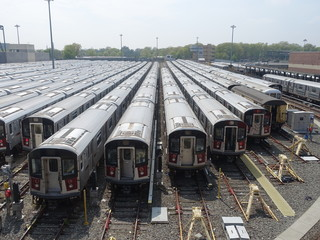 Number 7 subway trains lined up in the Corona Yard near in Queens in New York. The NYC rapid transit has the largest annual ridership in the USA.