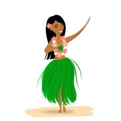 Hawaiian girl dancing hula isolated on white background. Cute polynesian dancer in costume, grass skirt, flower in hair, hawaiian lei.