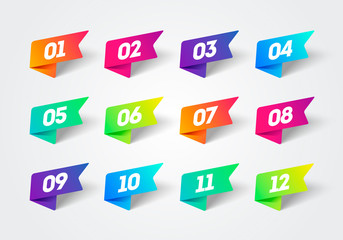 Vector Number Bullet Point 1 to 12 Colorful Label Ribbons Set Fotomurales