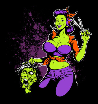 Comic book style rockabilly girl holding the scissors and zombie head. Haircut poster concept, barber shop comic book style logo, fifties retro style, rockabilly style.