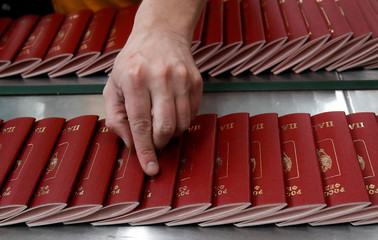 Russian passports are pictured during production at Goznak printing factory in Moscow