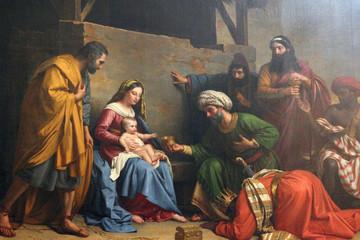 Nativity Scene, Adoration of the Magi, Saint Etienne du Mont Church, Paris Fototapete