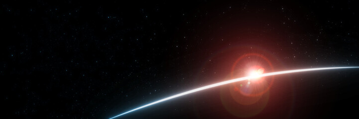 3D Rendering of earth from space with run rising and ray light flare at horizon among glowing stars in galaxy. For wallpaper, sci fi, science or technology background