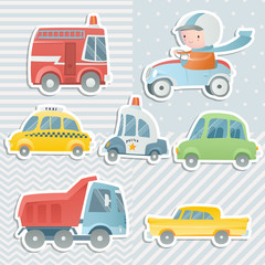 Cartoon set with a boy driving a car and cars. Digital scrapbooking.