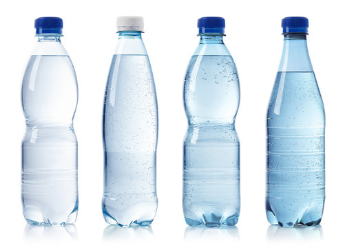 Collection of various bottles of water