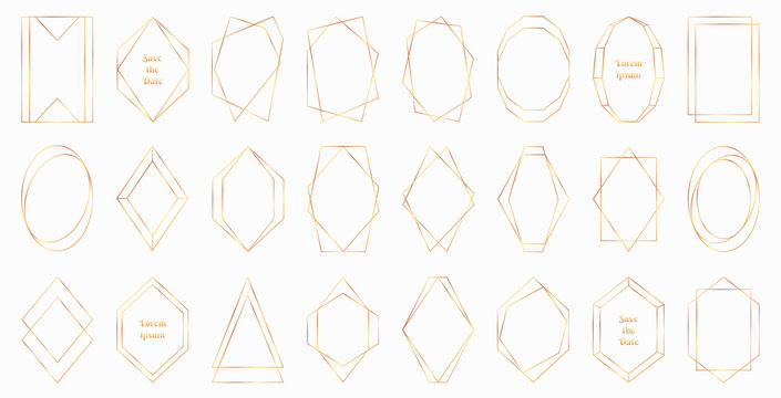 Gold polygonal frames collection isolated on white background. Modern decorative art deco style vector illustration - perfect decision for wedding invitations, birthday cards, luxury posters etc.