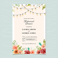 rehearsal dinner invitation with floral watercolor and string light background