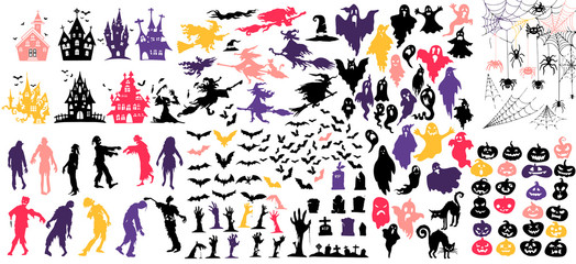 Collection of halloween silhouettes icon and character., witch, creepy and spooky elements for halloween decorations, silhouettes, sketch, icon, sticker. Hand drawn vector illustration - Vector