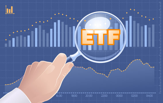Search ETF Investments. Graphic illustration on the subject of 'Investments / Exchange Traded Funds'.