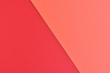 Two tone paper background with red and orange color. Blank colorful backdrop with empty space for...