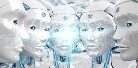 Group of female robots heads creating digital sphere network 3d rendering