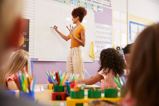 Female Teacher Standing At Whiteboard Teaching Maths Lesson To Elementary Pupils In School Classroom