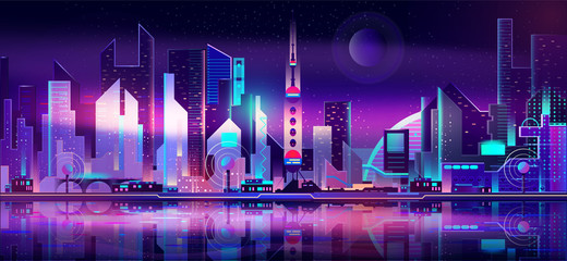 Future metropolis on seacoast, extraterrestrial space colony city flat vector with futuristic skyscrapers illuminating at night with fluorescent, neon lights, reflecting in bay calm water illustration Wall mural
