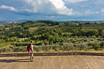 Panoramic view on a hills, vineyards, olive and cypress trees, Tuscany landscape around San Gimignano, Italy