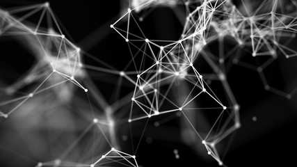 Background with connecting dots and lines. Big data visualization. 3d rendering.