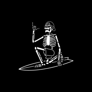 SKELETON SURFER WITH SHAKA HAND WHITE BLACK BACKGROUND