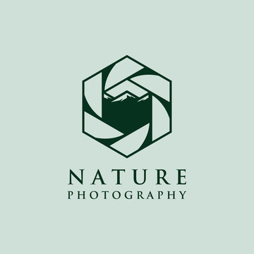 lens photography logo designs with mountain symbol