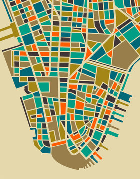 New York Colourful City Plan