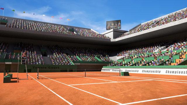 Empty clay tennis court with spectators 3d render