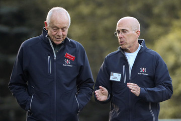 Herbert Allen and Jeffrey Katzenberg attend the annual Allen and Co. Sun Valley media conference in Sun Valley, Idaho
