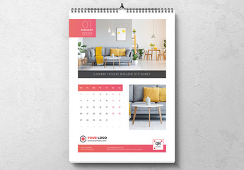 Vertical Wall Calendar with Red Accents